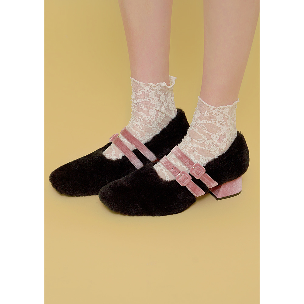 [주문제작] double strap fur shoes
