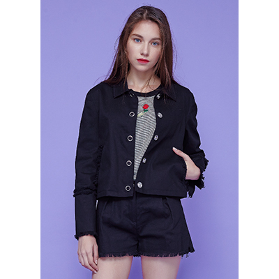 [40% SALE ]eyelet fringe jacket