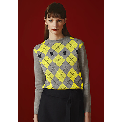heart argyle knit