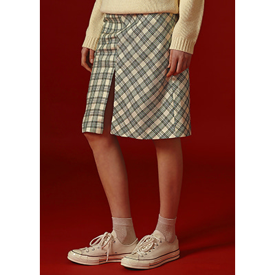 [30% sale]check slit skirt