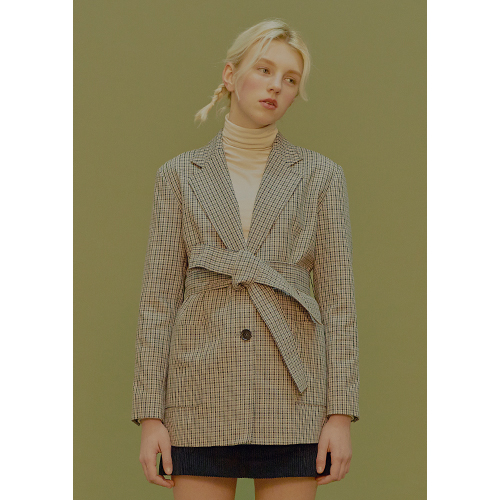 belted check jacket