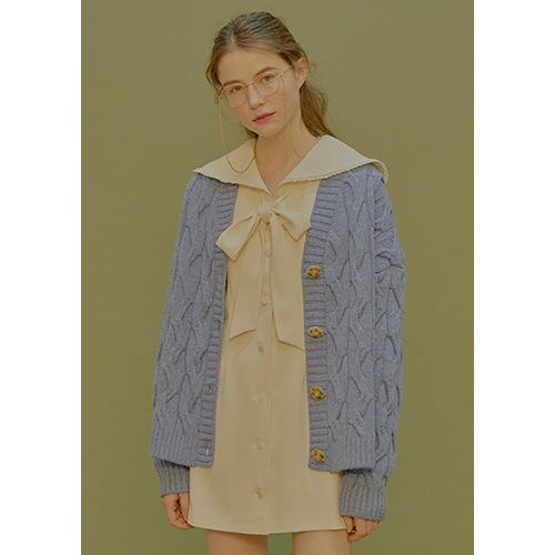 cable knit cardigan (blue)