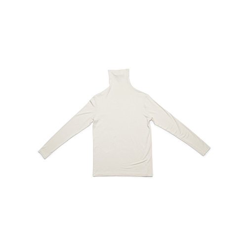 shirring turtle neck T (beige)