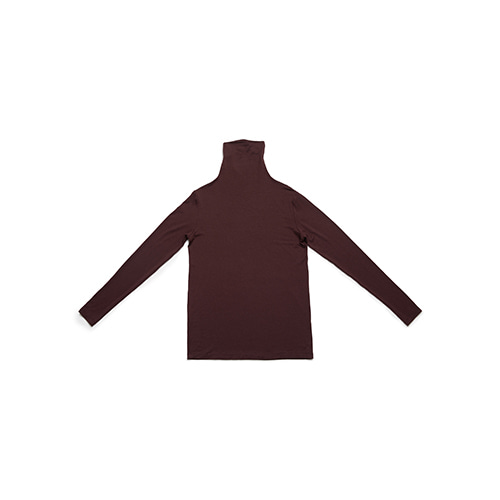 shirring turtle neck T (burgundy)