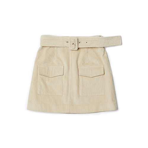 belt corduroy skirt (beige)