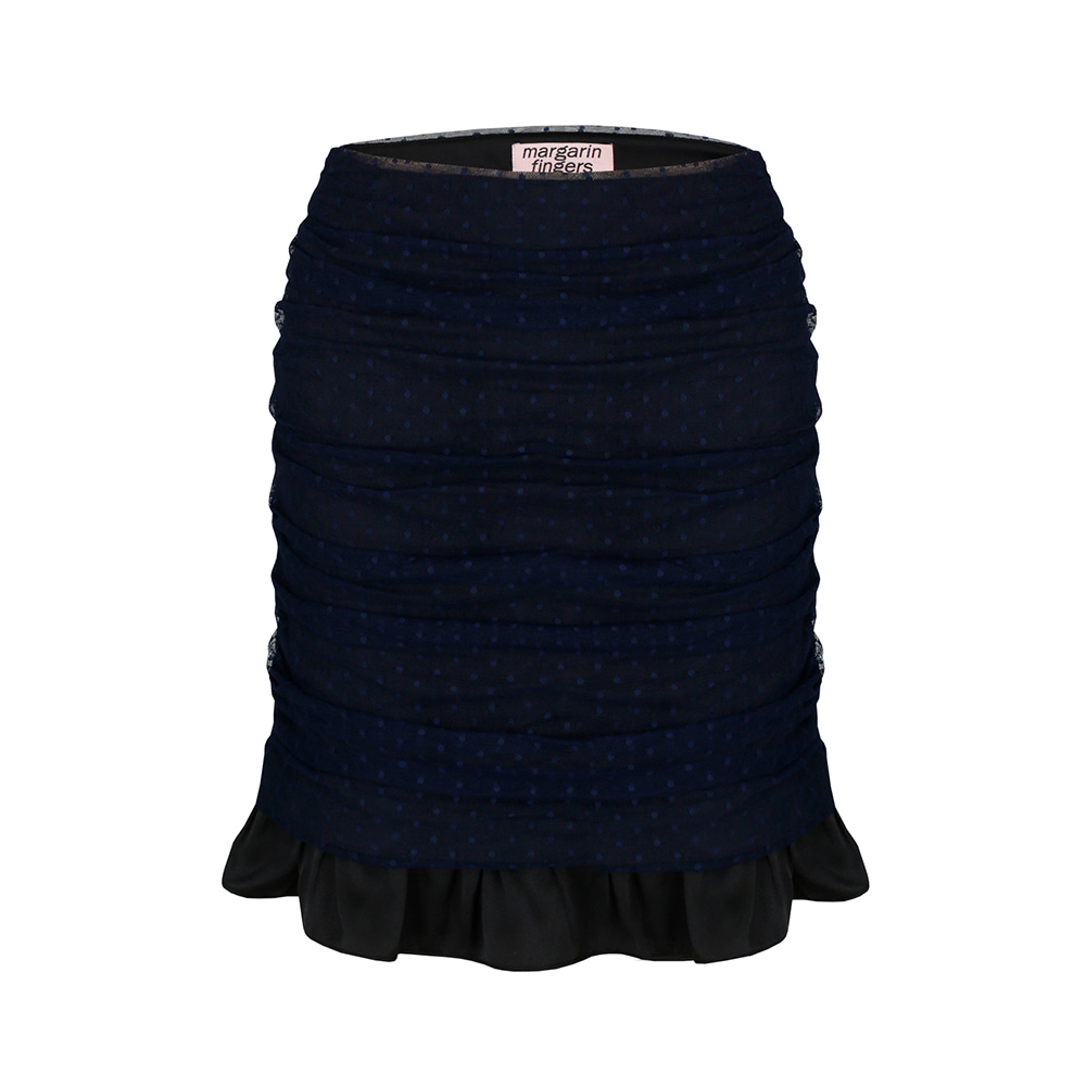 mesh shirring skirt